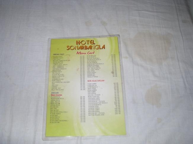 Sonar Bagla - fake menu! They had nothing in reality