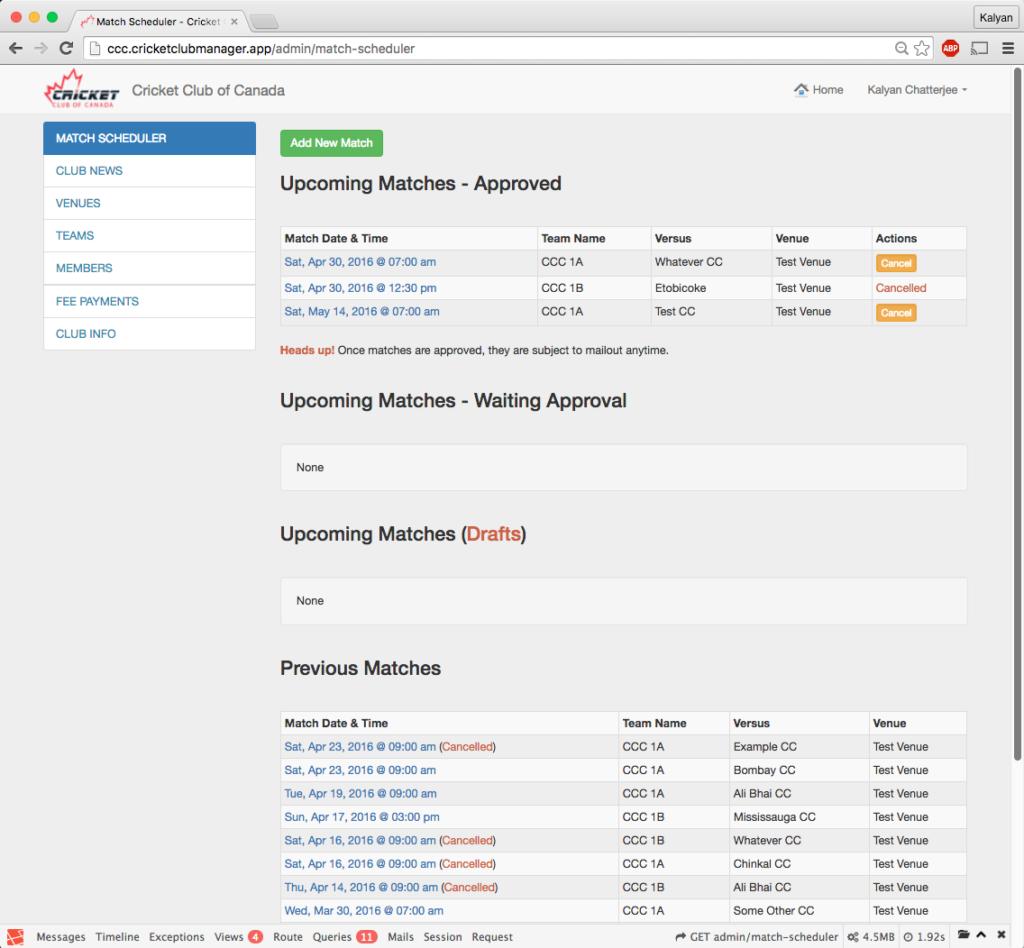 Admin Match Scheduling Dashboard
